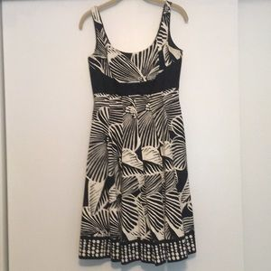 Black and off white Nine West fit and flare dress